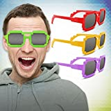Multi-Color Mirrored Pixel Sunglasses Party Favors - 12 Pack