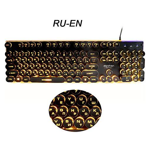 Keyboards Teclados Gaming rusos Retro Redondo Brillante Panel de Metal retroiluminado USB Panel de Metal Iluminado Borde Impermeable Russian Orange