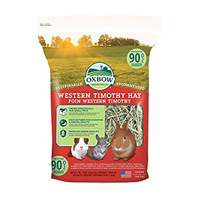 Oxbow Animal Health Western Timothy Hay - All Natural Hay for Rabbits, Guinea Pigs, Chinchillas, Hamsters & Gerbils - 90 oz. by Oxbow Animal Health LLC