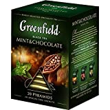 [2 PACK] black tea Greenfield MINT AND CHOCOLATE Beverages Grocery Gourmet Food [20 of tea pyramids in 1 PACK]