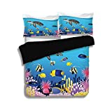 Juego de funda nórdica negra, ballena, ilustración de anémonas marinas Goldfish Snorkel Dibujos animados del paisaje marino tropical, amarillo azul claro, juego de cama decorativo de 3 piezas con fund