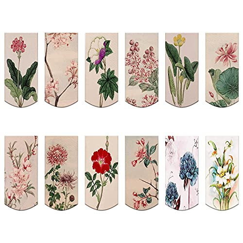 12PCS Magnetic Bookmarks - Magnet Page Markers Page Clips Assorted Book Markers Set with Exquisite Pattern, Bookmarks for Women, Students, and Book Lovers(Floral Style)