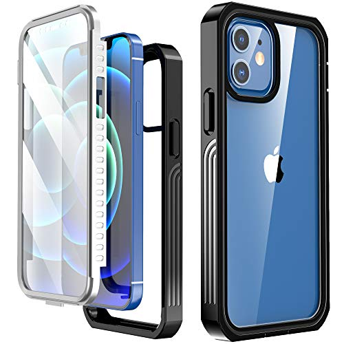 Krichit Rugged Clear Designed for iPhone 12 Pro Case and iPhone 12 Case, Slim Full-Body Stylish Protective Case with Built-in Screen Protector 6.1 Inch (Clear Black)