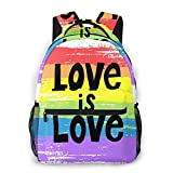 TUBIAZICOL Rainbow Gay Pride Love Is Love Laptop Backpack Casual Large Teen Girls Women Kids School Bags Fashion Cute Bookbag School Student Computer Backpacks Travel Hiking Camping Daypack, Black, One Size