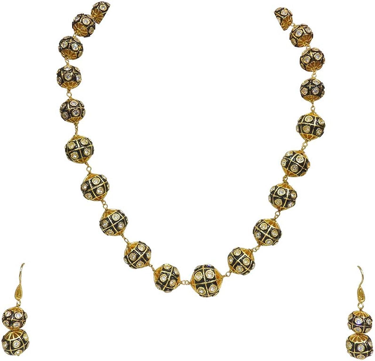 Babosa Sakhi Black Antique Necklace Strand Jaipuri Zirconia Jewelry Set