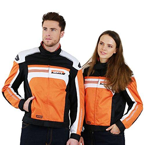 LeichteMotorradjacke mitProtektoren-X66- Roller Motorrad Jacke Herren Sommer Winter Textil Kurz MännerProtektorenjackeWasserdicht - Orange-Weiß - XL