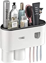 Multifunctional Toothbrush Holder, WEKITY Wall-Mounted Toothbrush Hanger with Automatic Toothpaste Dispenser, 2 Cups, and ...
