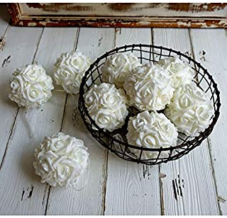 idyllic 9pcs Rose Flower Foam Kissing Balls for Bridal Wedding Centerpiece Party Ceremony Decoration 3.5 Inches (White)