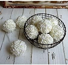 idyllic 9pcs Rose Flower Foam Kissing Balls for Bridal Wedding Centerpiece Party Ceremony Decoration 3.5 Inches (White)