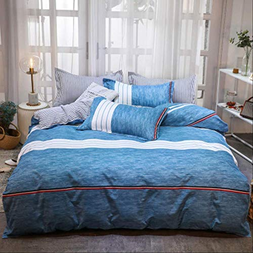 N/D Simple Brushed Aloe Cotton Four-piece Polyester Student Dormitory Three Four-piece Bed Sheet Quilt Cover Gift Bedding Pillowcase 1.8m Bed(4pcs) blue