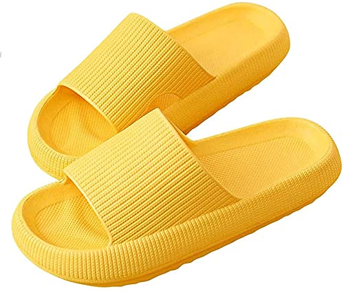 TTYJWDWY Sandalias Y Zapatillas De Casa De Verano para Mujer Antideslizantes Suela Gruesa Plataforma De Secado Rápido Sandalias Sandalias Unisex Super Suaves (42-43,Amarillo)