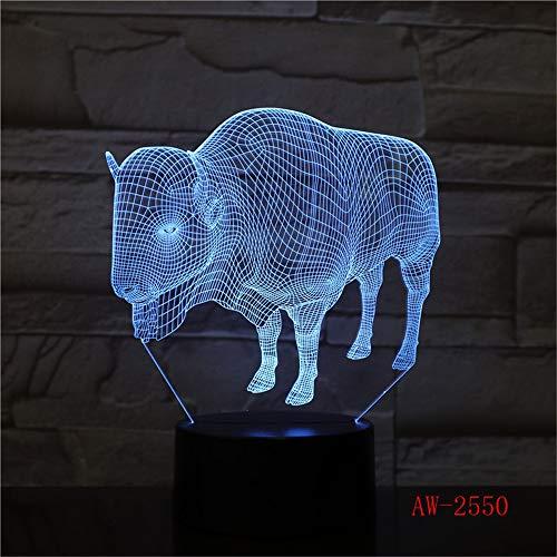 Lámpara de mesa 3D Juguete para niños Regalo Animal Toro Vaca USB LED Dios ganado Mesa Luz de noche Decoración del hogar indio Luz de escritorio XW-Night Light2550