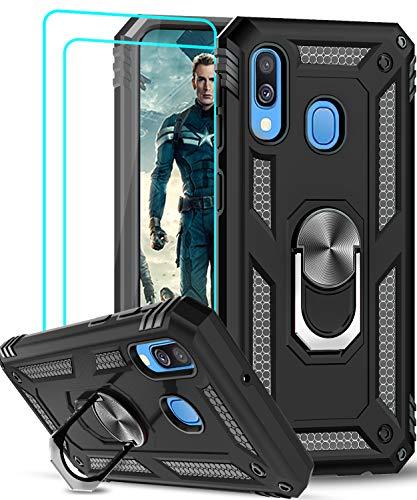 LeYi Funda Samsung Galaxy A40 con [2-Unidades] Cristal Vidrio Templado,Armor Carcasa con 360 Grados Anillo iman Soporte Hard PC y Silicona TPU Bumper Antigolpes Case para Movil A40,Negro