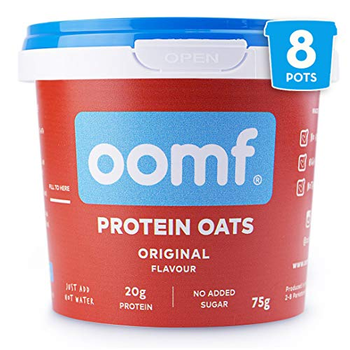 Oomf Whey Protein Porridge Instant Oats, Pack of 8 x 75g Porridge Pots, 20g Protein Per Pot, No Added Sugar, No Artificial Flavours or Ingredients, Original Flavour