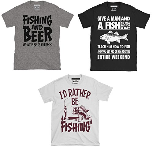 6TN Paquede Triple de Hombre Pesca/Pesca con Caña Temática Camisetas - Colores Mixtos, Large