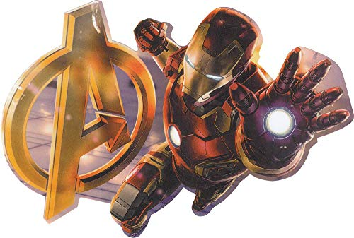 Square Deal Recordings & Supplies - Avengers - Iron Man - Flying with Avengers Logo - Die Cut Sticker