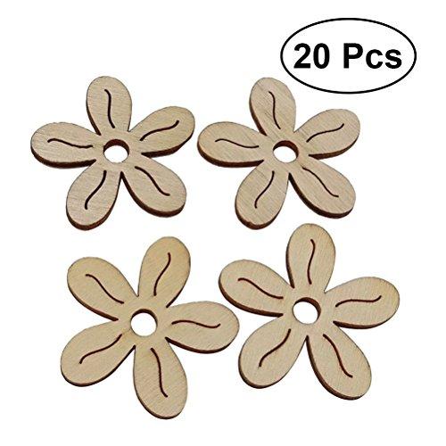 ultnice 20pcs formes de bois Prune Fleur ornements Flatteuses de fleurs artisanat bricolage Décorations pour mariage anniversaire Noël