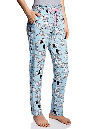 oodji Ultra Damen Bedruckte Schlafanzughose für Zuhause, Blau, DE 36 / EU 38 / S