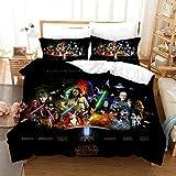 Lianai Star Wars Bedding Sets for Boys Queen Size 3 Piece Soft Black Duvet Cover Sets, 1 Duvet Cover + 2 Pillowcases