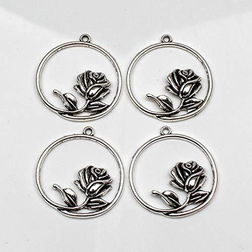 WANM 3Pcs Charms Rose Flower 36 * 33Mm Antique Tibetan Silver Pendant Finding Accessories Diy Vintage Choker Necklace Handmade Alloy Pendant