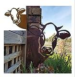 QPYC Arte de metal de vaca de granja, arte de pared de metal para casa de granja, decoración de jardín al aire libre, valla de granja, obras de arte modernas decoración del hogar