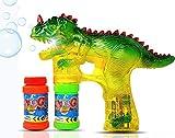 Pistola de burbujas de dinosaurio Light Up Blower | Toy Bubble Blaster para nios pequeos, nios, fiestas | Luces LED intermitentes y sonido, botella de recarga adicional (bateras no incluidas)