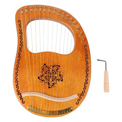 HEALLILY Leier Harfe 16 Saiten Mahagoni Harfe mit Stimmschlüssel Mini Tragbare Musikinstrument Spielzeug Weihnachten Geburtstagsgeschenk für Kinder Anfänger