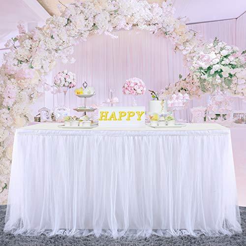 HBBMAGIC Tüll Tischrock Tischdecke Tütü Tischröcke Party Deko Für Hochzeit, Geburtstag, Candy Bar, Weihnachten(183*76CM, Weiß, Ohne Led)