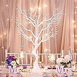 Nuptio 76cm de Altura Árbol Blanco Artificial con Cadenas de Acrílico Colgantes Centros de Mesa de Boda para Mesas para Banquetes de Boda Fiesta de Cumpleaños Evento Decoraciones de Mesa(1 Pieza)