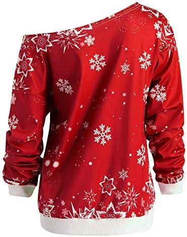 BaZhaHei Obliquo Camicia Donna Natale Maglione Casuale Stampa Babbo Natale,Felpa Ragazza Donne Natalizio Pullover Invernali Sweatshirt Manica Lunga Camicetta Elegante