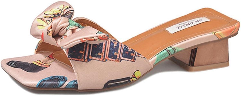 GIY Women's Bowknot Low Heel Sandals Peep Toe Slip On Chunky Heel Slide Slipper Mule
