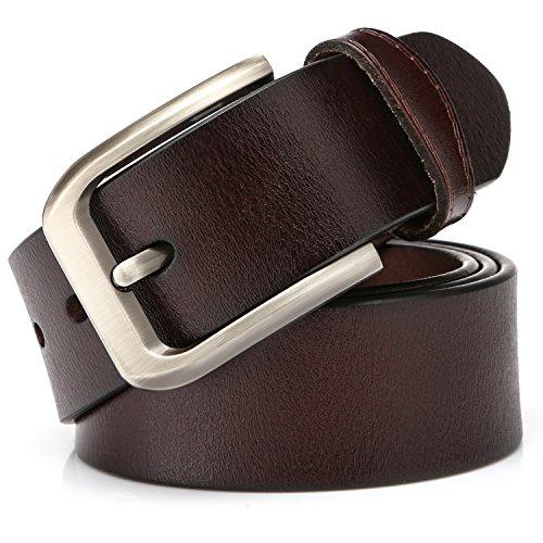 """KeeCow Cinturón de Cuero Hombre,Correa de Hebilla de Pin de Aleación Para Jeans,Trajes, Ropa Informal y Formal,Café/Negro,Se Ajusta a Una Cintura De 48 Pulgadas (125cm( 40""""- 48""""), tipo 3 café)"""