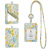 Rose Lake Badge Holder Lanyard Floral String ID Card Holder with Mirror, Leather Detachable Keychain Wallet Gift for Teacher Office Woman Girls - Flower Daisies Yellow