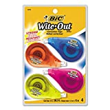 BIC WOTAPP418 Wite-Out EZ Correct Correction Tape, Non-Refillable, 1/6-Inch x 400-Inch, 4/Pack