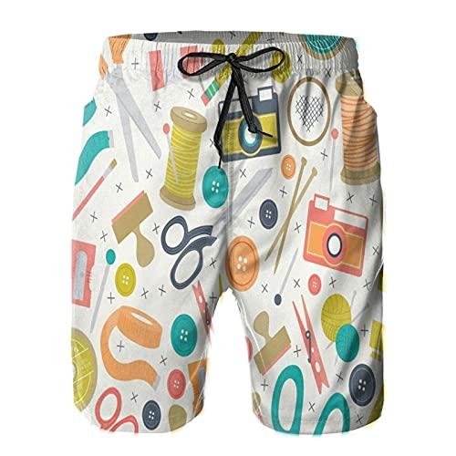 Olverz Pantalones cortos de playa para los hombres de dibujos animados Herramientas de mano transpirable trajes de baño ocasionales