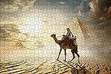 LHJOY Puzzle educa Puzzle 1000 Piezas Camello Egipto El Cairo Desierto Pirámide Animal Regalo de cumpleaños 75x50cm