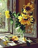 Paint by Number Canvas - Kit de pintura acrílica para alféizar de ventana, diseño de girasol, color amarillo con pinceles y pigmentos, para niños y adultos, 40,6 x 50,8 cm