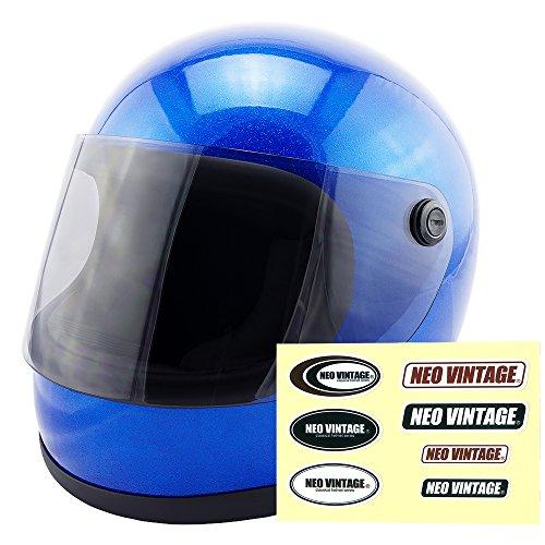 NEO VINTAGE レトロ族ヘルタイプ フルフェイス SG規格品 ステッカー付 [メタリックブルー×ライトスモークシールド 青 Mサイズ:57-58cm対応] VT-7 バイクヘルメット
