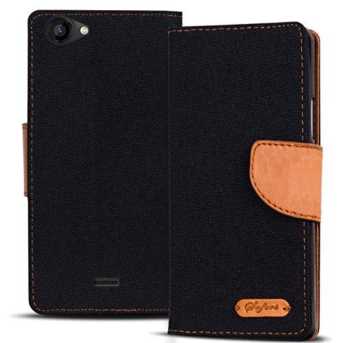 Conie TW44667 Textil Wallet Kompatibel mit Wiko Rainbow Jam, Textil Hülle Klapptasche mit Kartenfächer Etui Slim Cover für Rainbow Jam Handyhülle Jeans Schwarz