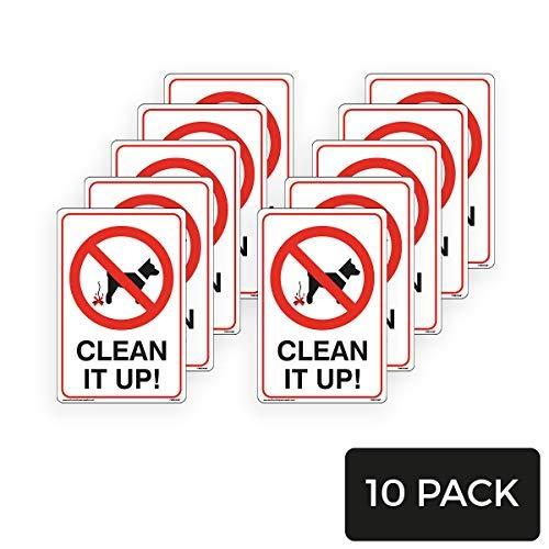 Maak het schoon! Hond Tekenen - Hond Verbod Tekenen Ondertekenen Waarschuwing Stickers voor Eigendom Zelfklevende Vinyl 200 mm x 300 mm, 10 Pack