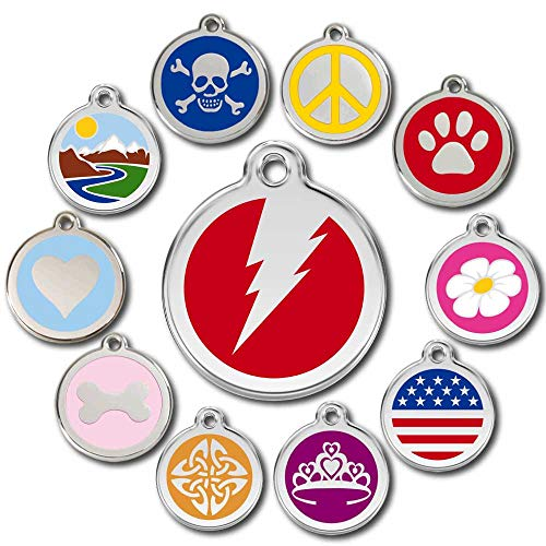 Love Your Pets Deluxe Pet ID Tags - Deep Engraved Stainless Steel - Engraving Will Last – 120 Design Choices of Pet Tags, Dog Tags, Cat Tags Most Ship Next Day (Red, Flash)