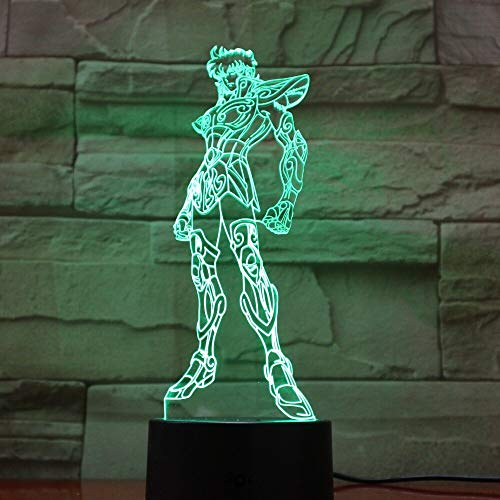 Saint Seiya Figure Cartoon s Boys Japanese Anime 3D LED Night Light Table Lamp Bedside Decoration Kids Gift