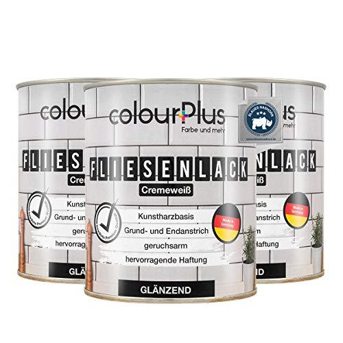colourPlus® Fliesenlack (3x750ml, Cremeweiß) glänzender 1K Fliesenlack Weiß - Farbe für Fliesen - Fliesen streichen - Fliesenfarbe Bad - Made in Germany