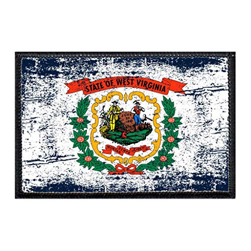 West Virginia State Flag - Color - Distressed | Hook and Loop Attach for Hats, Jeans, Vest, Coat | 2x3 in | by Pull Patch -  P PULLPATCH, PP-P-32-1389