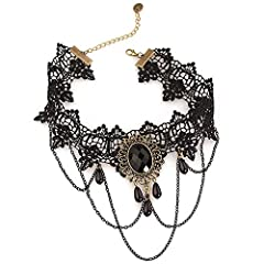 Daimay Black Choker Lace Necklace with Bracelet Set Punk Party Gothic Vintage Handmade Lolita Retro Slave Bracelet Wristband for Women - Style 4 #3