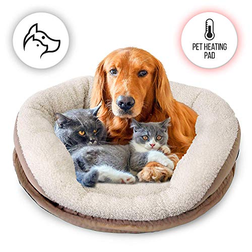 SereneLife Electric Heated Pet Warmer Bed | Low Power Warming Heating Soft Cushion Sleeping Blanket Dog Cat Bed Warmer Pad, for Canine Hound Dogs Puppy Kitty Cats Indoor Animal Keep Your Pets Warm at