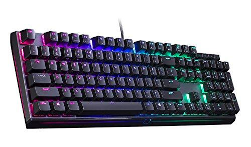 Cooler Master MasterKeys MK750, mechanische Gaming Tastatur - RGB-Beleuchtung, gebürstetes Aluminiumgehäuse, magnetische Handballenauflage - QWERTZ deutsches Tastaturlayout, Cherry MX Brown