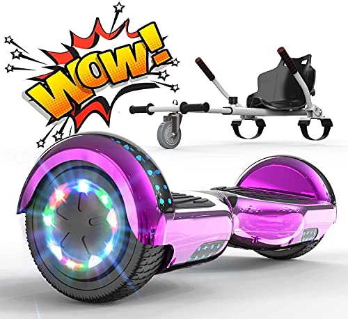 RCB Hoverboards with go kart seat bundle for kids Segways built in LED lights Bluetooth Speaker Electric Scooter Board gift for kids and adult