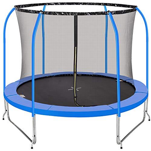 PAPAJET Trampolín de 10 pies para niños con red de seguridad al aire libre, patio redondo, trampolines con tapeta de salto, con certificado TUV