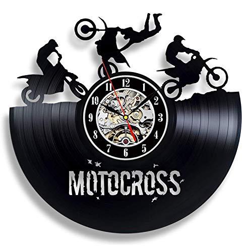 YZJYB Reloj De Pared con Registro De Vinilo Motocicleta Gothic Steampunk Reloj Cuarzo Silencioso Modernos Decoración Hecha A Mano Regalo Creativo para Los Amantes del Motocicleta